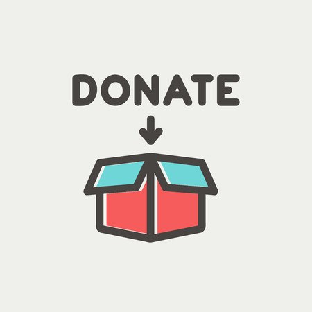 Donation box icon thin line for web and mobile, modern minimalistic flat design. Vector icon with dark grey outline and offset colour on light grey background.