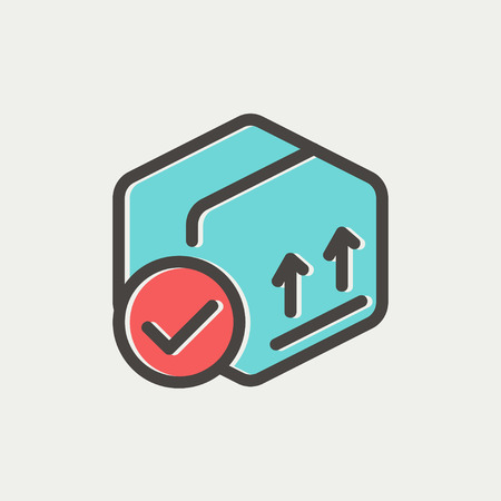 unbuttoned: Box with validation icon thin line for web and mobile, modern minimalistic flat design. Vector icon with dark grey outline and offset colour on light grey background.