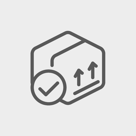 validation: Box with validation mark icon thin line for web and mobile, modern minimalistic flat design. Vector dark grey icon on light grey background. Illustration