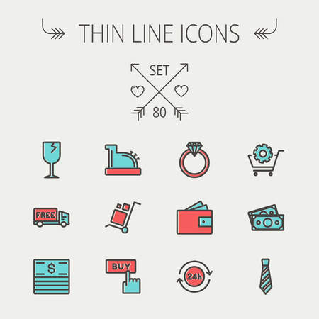 wine register: Business shopping thin line icon set for web and mobile. Set includes - broken glass wine, free delivery van, stack of money, vintage cash register, trolley, diamond ring, 24 hrs service, necktie icons. Modern minimalistic flat design. Vector icon with da