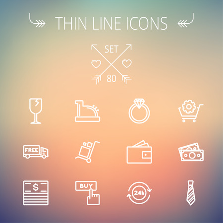 Business shopping thin line icon set for web and mobile. Set includes-broken glass wine, free delivery van, stack of money, vintage cash register, trolley, diamond ring, 24 hrs service, necktie icons. Modern minimalistic flat design. Vector white icon on
