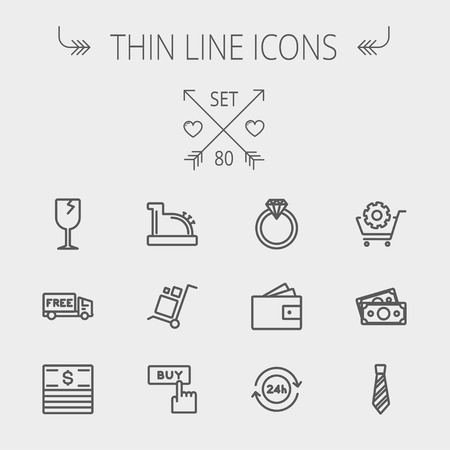 Business shopping thin line icon set for web and mobile. Set includes- broken glass wine, free delivery van, stack of money, vintage cash register, trolley, diamond ring, 24 hrs service, necktie icons. Modern minimalistic flat design. Vector dark grey ico