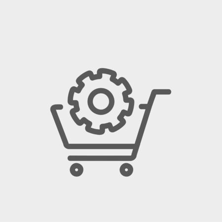 Shopping cart with gear icon thin line for web and mobile, modern minimalistic flat design. Vector dark grey icon on light grey background. Stock Illustratie