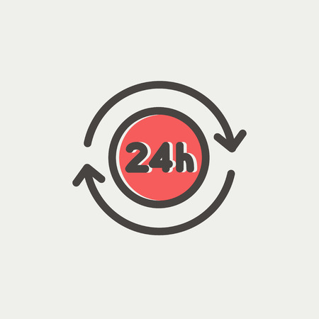 24 hr: 24 hrs service icon thin line for web and mobile, modern minimalistic flat design. Vector icon with dark grey outline and offset colour on light grey background.