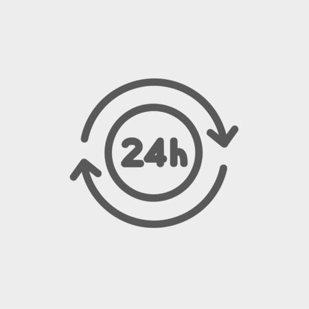 24 hr: 24 hrs service icon thin line for web and mobile, modern minimalistic flat design. Vector dark grey icon on light grey background.