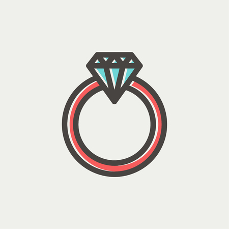 Diamond ring icon thin line for web and mobile, modern minimalistic flat design. Vector icon with dark grey outline and offset colour on light grey background.