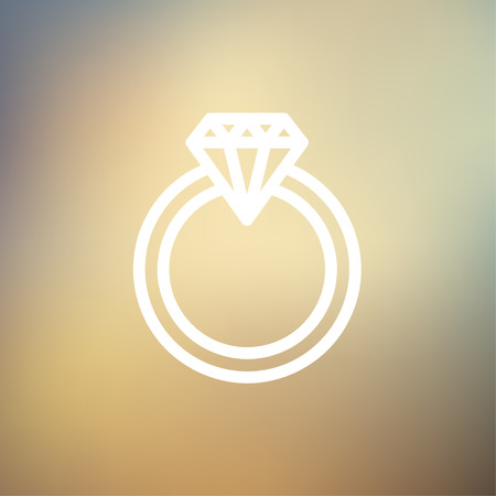 brilliancy: Diamond ring icon thin line for web and mobile, modern minimalistic flat design. Vector white icon on gradient mesh background.