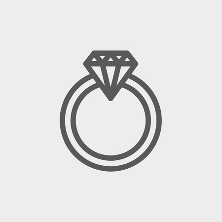 Diamond ring icon thin line for web and mobile, modern minimalistic flat design. Vector dark grey icon on light grey background. Illustration