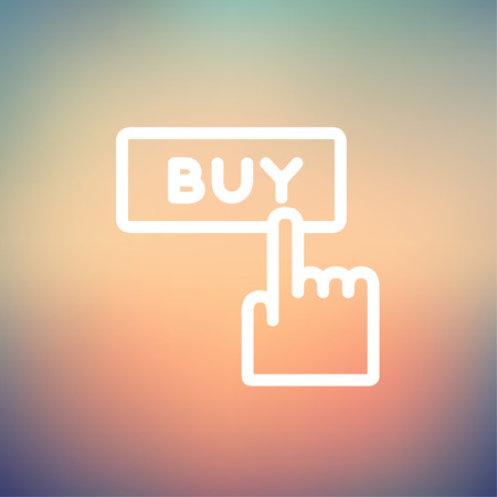 Finger pointing to buy sign icon thin line for web and mobile, modern minimalistic flat design. Vector white icon on gradient mesh background.