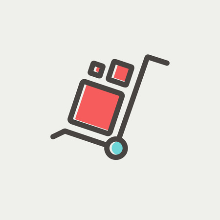 portage: Trolley with boxes icon thin line for web and mobile, modern minimalistic flat design. Vector icon with dark grey outline and offset colour on light grey background. Illustration