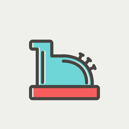 Antique cash register icon thin line for web and mobile, modern minimalistic flat design. Vector icon with dark grey outline and offset colour on light grey background.
