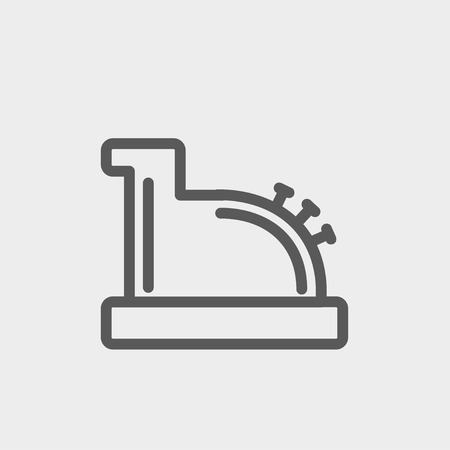 checkout line: Antique cash register icon thin line for web and mobile, modern minimalistic flat design. Vector dark grey icon on light grey background.