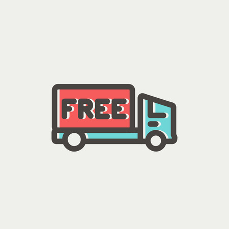 Free delivery van icon thin line for web and mobile, modern minimalistic flat design. Vector icon with dark grey outline and offset colour on light grey background. Vector