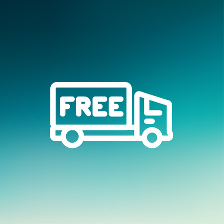 Free delivery van icon thin line for web and mobile, modern minimalistic flat design. Vector white icon on gradient mesh background. Vector