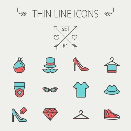 Business shopping thin line icon set for web and mobile. Set includes - vintage cap, cat eyeglasses, diamond, high heel, t-shirt, hanger, cap, rubber shoe, perfume, medal   icons. Modern minimalistic flat design. Vector icon with dark grey outline and off 向量圖像