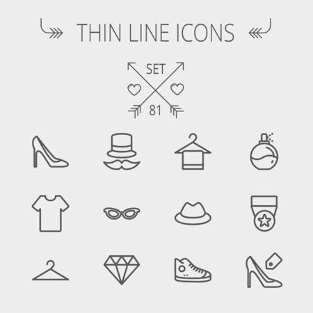Business shopping thin line icon set for web and mobile. Set includes- vintage cap, cat eyeglasses, diamond, high heel, t-shirt, hanger, cap, rubber shoe, perfume, medal icons. Modern minimalistic flat design. Vector dark grey icon on light grey backgroun