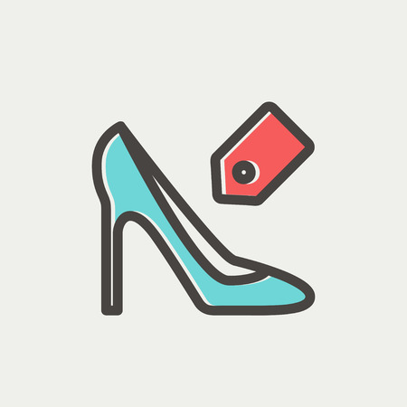 priceless: Shoe with tag icon thin line for web and mobile, modern minimalistic flat design. Vector icon with dark grey outline and offset colour on light grey background. Illustration