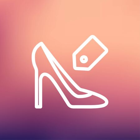 priceless: Shoe with tag icon thin line for web and mobile, modern minimalistic flat design. Vector white icon on gradient mesh background.