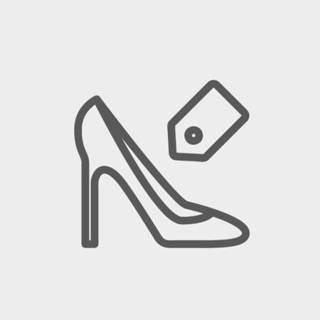priceless: Shoe with tag icon thin line for web and mobile, modern minimalistic flat design. Vector dark grey icon on light grey background.
