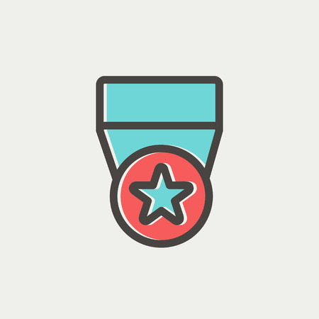 heroism: One star medal icon thin line for web and mobile, modern minimalistic flat design. Vector icon with dark grey outline and offset colour on light grey background. Illustration