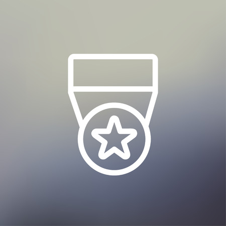 commendation: One star medal icon thin line for web and mobile, modern minimalistic flat design. Vector white icon on gradient mesh background.