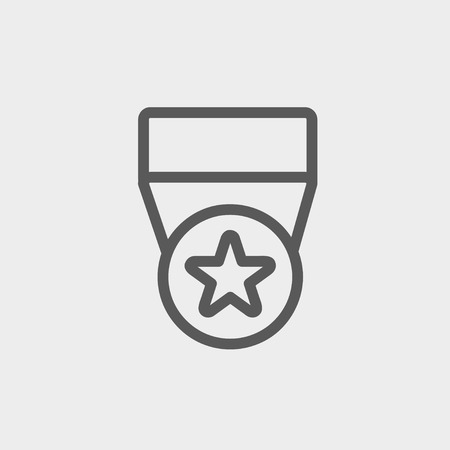 merit: One star medal icon thin line for web and mobile, modern minimalistic flat design. Vector dark grey icon on light grey background. Illustration