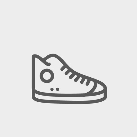 High cut rubber shoes icon thin line for web and mobile, modern minimalistic flat design. Vector dark grey icon on light grey background.