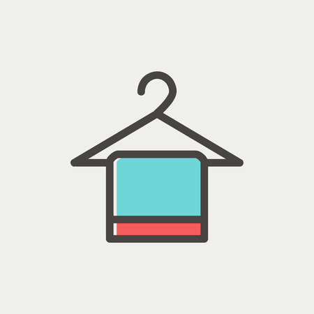 Towel on hanger icon thin line for web and mobile, modern minimalistic flat design. Vector icon with dark grey outline and offset colour on light grey background.