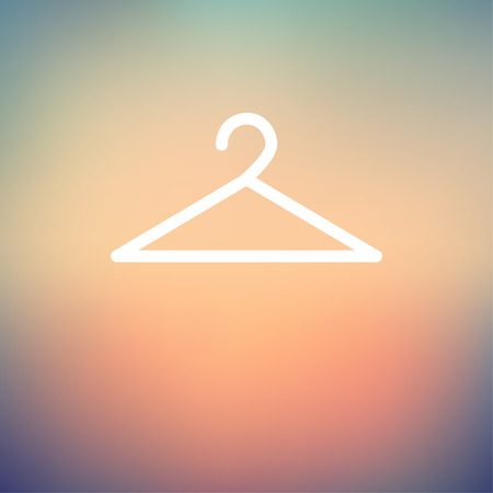 Hanger icon thin line for web and mobile, modern minimalistic flat design. Vector white icon on gradient mesh background.