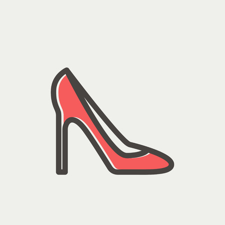 stilleto: Lady high heel icon thin line for web and mobile, modern minimalistic flat design. Vector icon with dark grey outline and offset colour on light grey background. Illustration