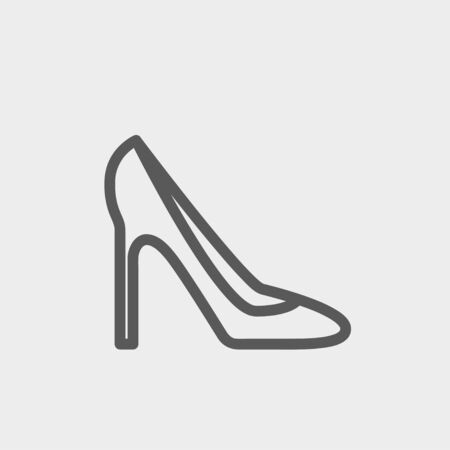 stilleto: Lady high heel shoe icon thin line for web and mobile, modern minimalistic flat design. Vector white icon on gradient mesh background.