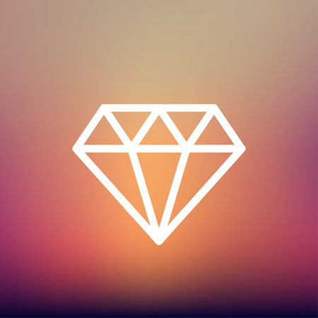 dazzling: Dazzling diamond icon thin line for web and mobile, modern minimalistic flat design. Vector white icon on gradient mesh background.
