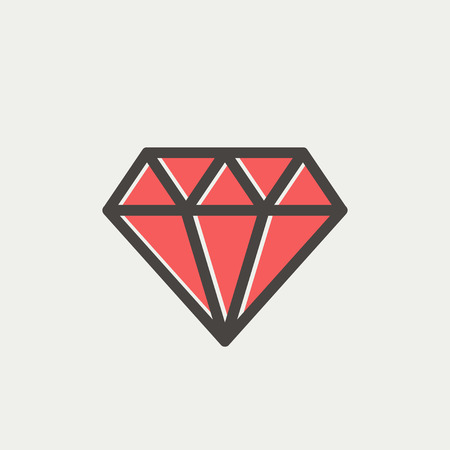 glister: Dazzling diamond icon thin line for web and mobile, modern minimalistic flat design. Vector icon with dark grey outline and offset colour on light grey background.