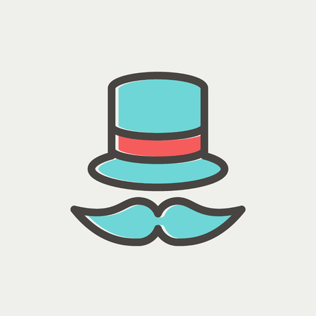 bowler hat: Vintage fashion hat and mustache icon thin line for web and mobile, modern minimalistic flat design. Vector icon with dark grey outline and offset colour on light grey background.