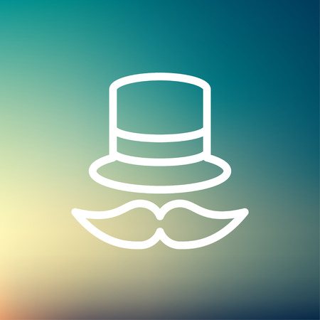 bowler hat: Vintage fashion hat and mustache icon thin line for web and mobile, modern minimalistic flat design. Vector white icon on gradient mesh background.