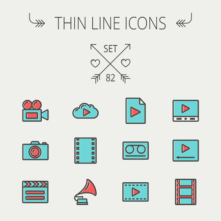 Multimedia thin line icon set for web and mobile. Set includes -phonograph, video ca, camerta, clapboard, film, strips, cloud, cassette, tape, arrow, forward   icons. Modern minimalistic flat design. Vector icon with dark grey outline and offset colour on