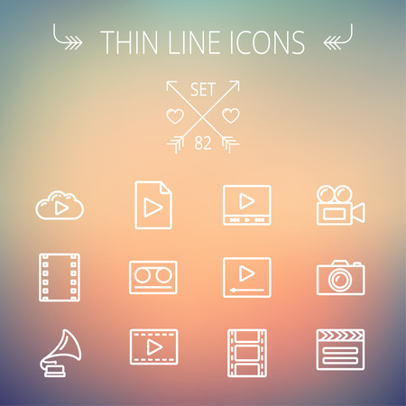 multimedia icons: Multimedia thin line icon set for web and mobile. Set includes- phonograph, video ca, camerta, clapboard, film, strips, cloud, cassette, tape, arrow, forward  icons. Modern minimalistic flat design. Vector white icon on gradient mesh background.