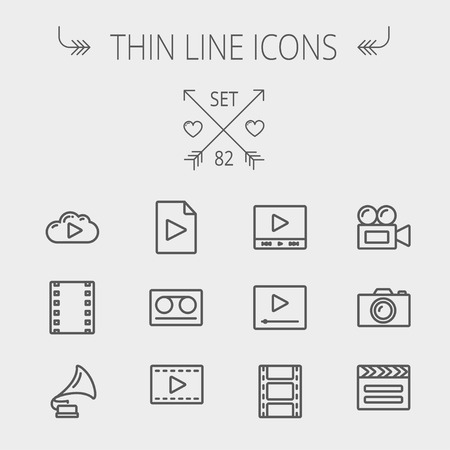 multimedia icons: Multimedia thin line icon set for web and mobile. Set includes- phonograph, video ca, camerta, clapboard, film, strips, cloud, cassette, tape, arrow, forward icons. Modern minimalistic flat design. Vector dark grey icon on light grey background.