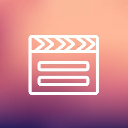 pensil: Clapboard icon thin line for web and mobile, modern minimalistic flat design. Vector white icon on gradient mesh background.