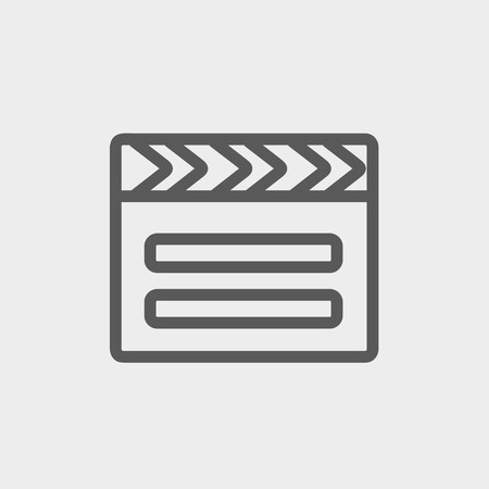 Clapboard icon thin line for web and mobile, modern minimalistic flat design. Vector dark grey icon on light grey background. Ilustração