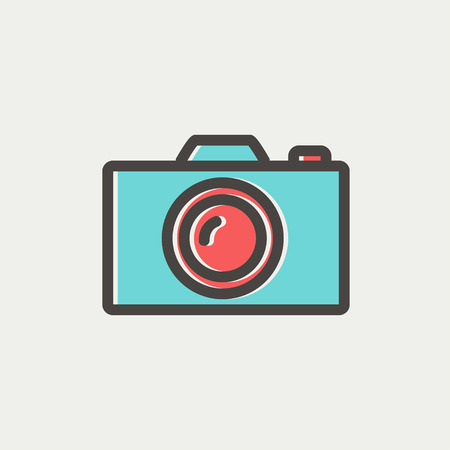 reflex camera: Camera icon thin line for web and mobile, modern minimalistic flat design. Vector icon with dark grey outline and offset colour on light grey background.