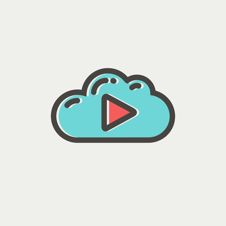 Cloud with arrow pointing to the right icon thin line for web and mobile, modern minimalistic flat design. Vector icon with dark grey outline and offset colour on light grey background. Illustration