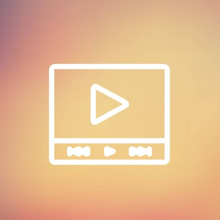 users video: Play sign in movie player icon thin line for web and mobile, modern minimalistic flat design. Vector white icon on gradient mesh background. Illustration