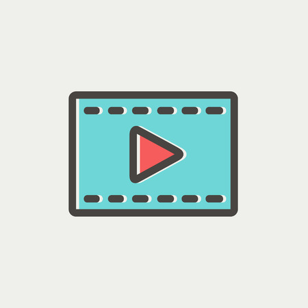 Film strip with arrow icon thin line for web and mobile, modern minimalistic flat design. Vector icon with dark grey outline and offset colour on light grey background. Illustration