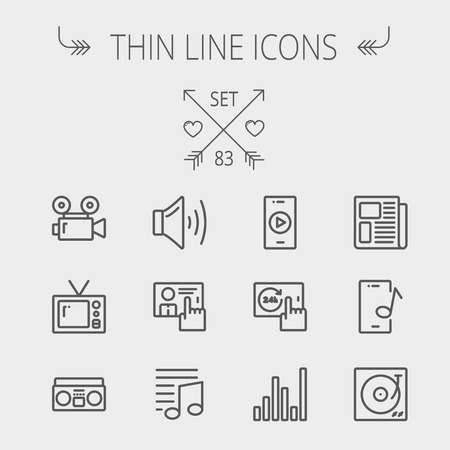 Multimedia thin line icon set for web and mobile. Set includes- speaker volume, notes, knob for volume, equalizer, television, cassette player, newspaper, phonograph icons. Modern minimalistic flat design. Vector dark grey icon on light grey background.