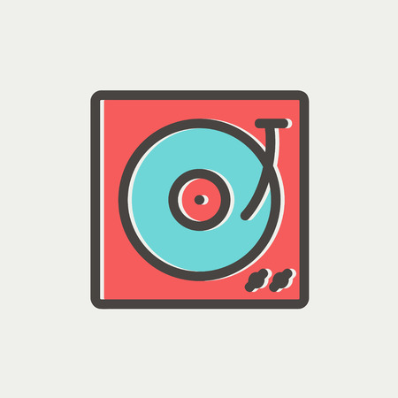 disk jockey: Turntable with vinyl disc icon thin line for web and mobile, modern minimalistic flat design. Vector icon with dark grey outline and offset colour on light grey background. Illustration