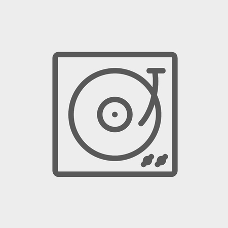Turntable with vinyl disc icon thin line for web and mobile, modern minimalistic flat design. Vector dark grey icon on light grey background.