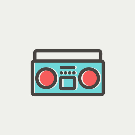 Cassette player icon thin line for web and mobile, modern minimalistic flat design. Vector icon with dark grey outline and offset colour on light grey background. Ilustrace