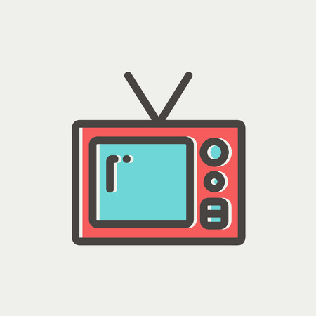 vintage television: Vintage television icon thin line for web and mobile, modern minimalistic flat design. Vector icon with dark grey outline and offset colour on light grey background.