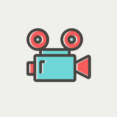 Cinematography icon thin line for web and mobile, modern minimalistic flat design. Vector icon with dark grey outline and offset colour on light grey background. Illustration